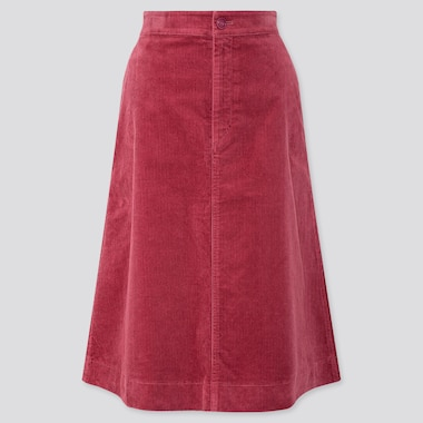WOMEN CORDUROY HIGH WAISTED MIDI SKIRT