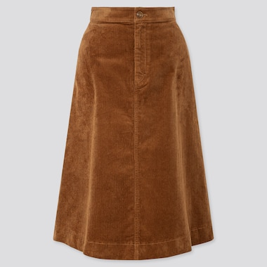 WOMEN CORDUROY MIDI SKIRT, BROWN, medium