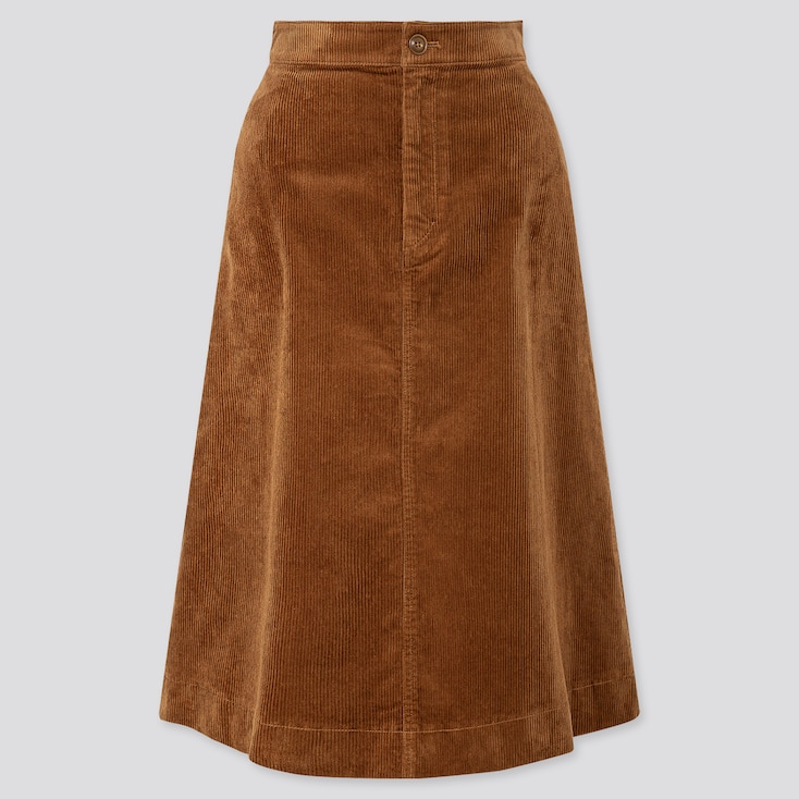 WOMEN CORDUROY MIDI SKIRT, BROWN, large