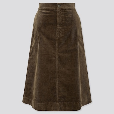 WOMEN CORDUROY MIDI SKIRT, OLIVE, medium