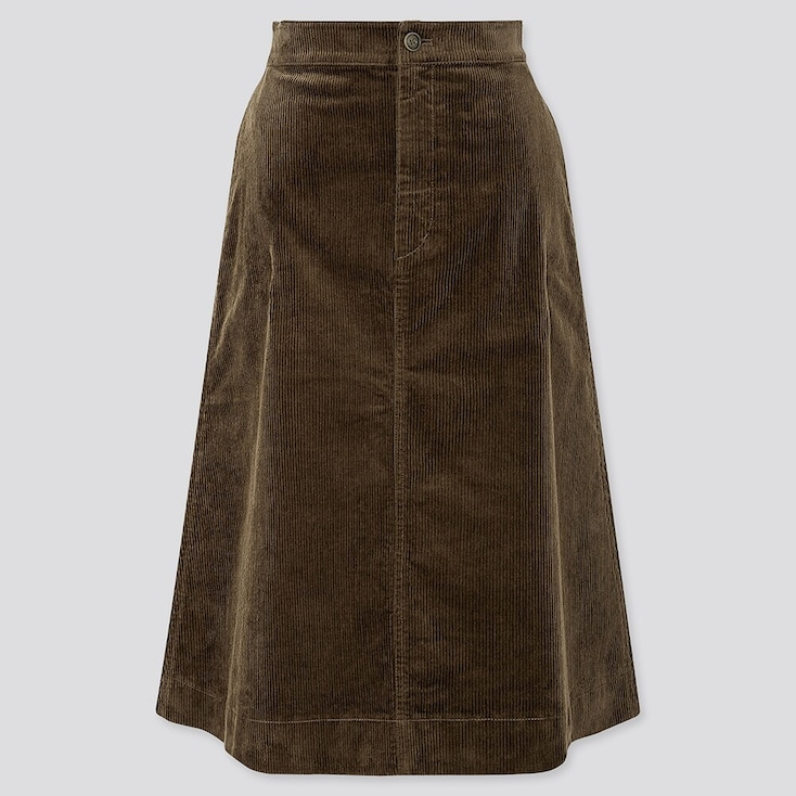 WOMEN CORDUROY MIDI SKIRT, OLIVE, large