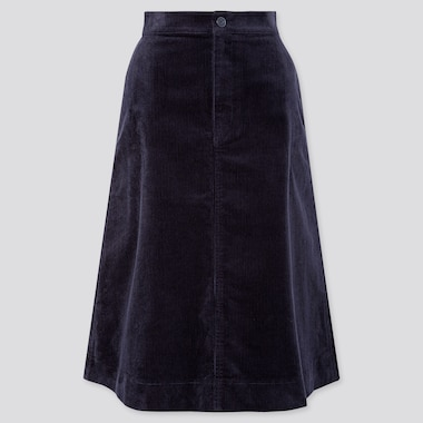 WOMEN CORDUROY MIDI SKIRT, NAVY, medium