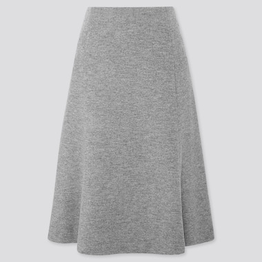 WOMEN WOOL-BLEND FLARE SKIRT, GRAY, medium