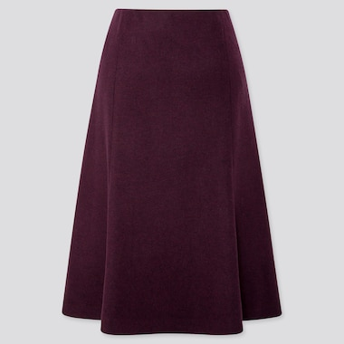 Women Wool-Blend Flare Skirt, Wine, Medium