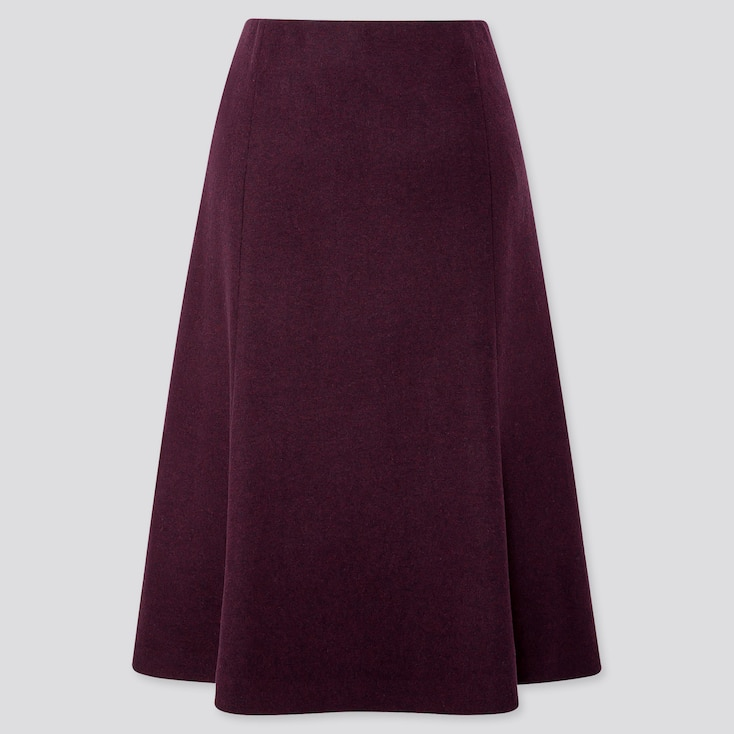 WOMEN WOOL-BLEND FLARE SKIRT, WINE, large
