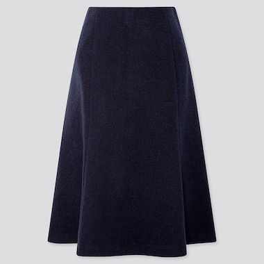 Women Wool-Blend Flare Skirt, Navy, Medium