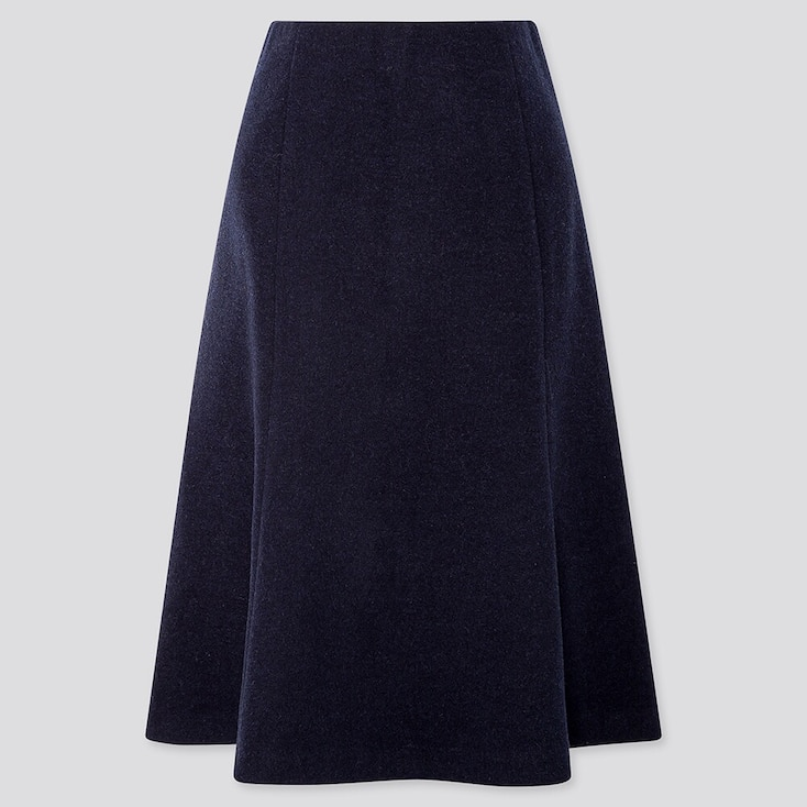 Women Wool-Blend Flare Skirt, Navy, Large