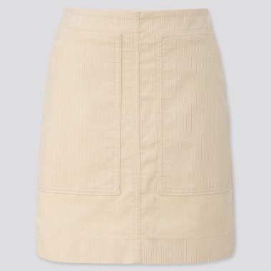 WOMEN CORDUROY MINI SKIRT, OFF WHITE, medium