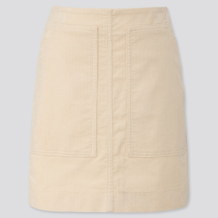 WOMEN CORDUROY MINI SKIRT, OFF WHITE, large
