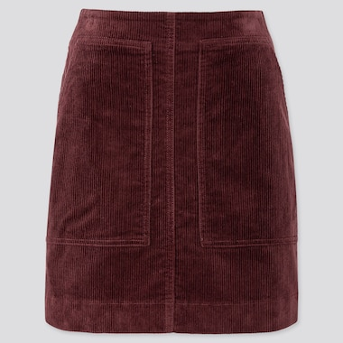 WOMEN CORDUROY MINI SKIRT, WINE, medium