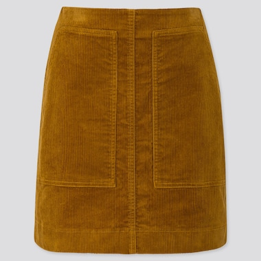 WOMEN CORDUROY MINI SKIRT, YELLOW, medium