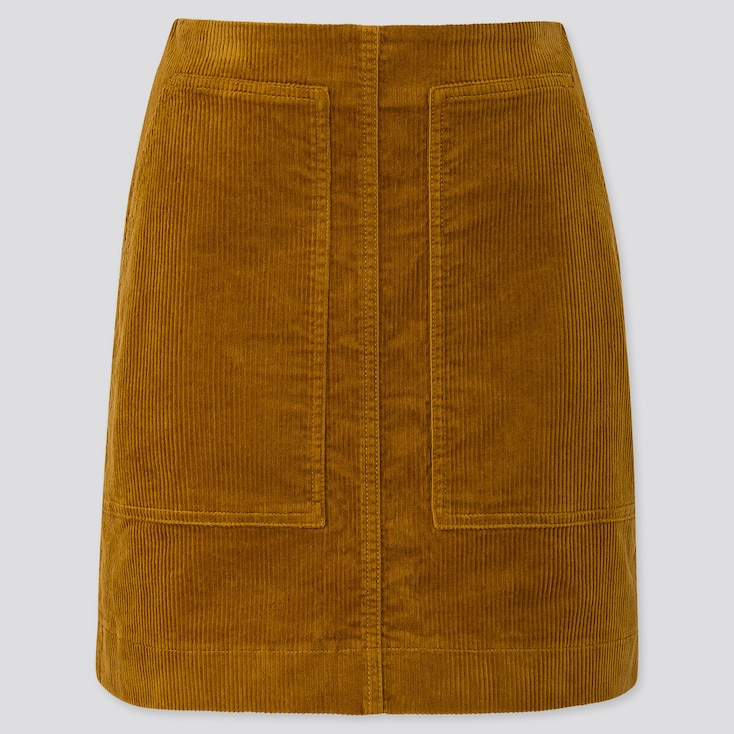 WOMEN CORDUROY MINI SKIRT, YELLOW, large