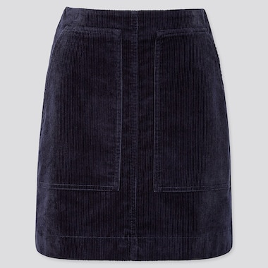 WOMEN CORDUROY MINI SKIRT, NAVY, medium