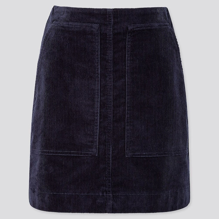 WOMEN CORDUROY MINI SKIRT, NAVY, large