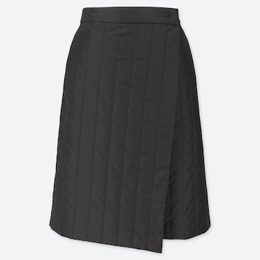 WOMEN WINDPROOF WARM-LINED WRAP SKIRT, BLACK, medium