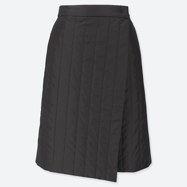 WOMEN WINDPROOF WARM-LINED WRAP SKIRT, BLACK, large