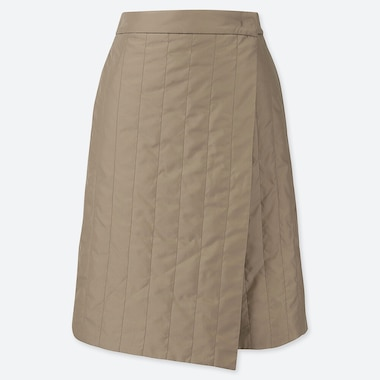 WOMEN WINDPROOF WARM-LINED WRAP SKIRT, BEIGE, medium