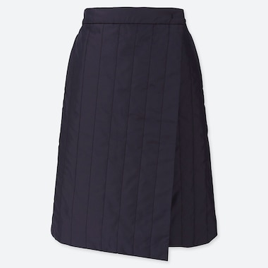 WOMEN WINDPROOF WARM-LINED WRAP SKIRT, NAVY, medium