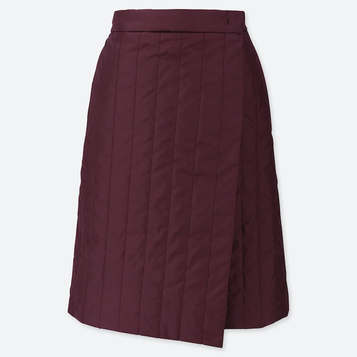 WOMEN WINDPROOF WARM-LINED WRAP SKIRT, PURPLE, large