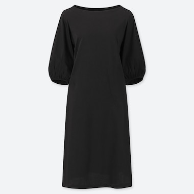 WOMEN MERCERISED COTTON VOLUME HALF SLEEVED DRESS