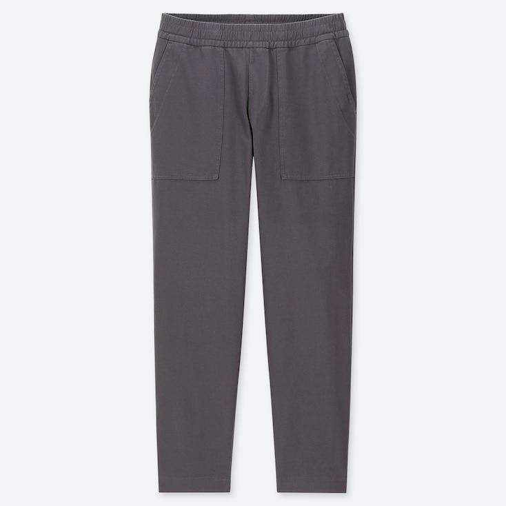 MEN WASHED JERSEY ANKLE-LENGTH PANTS, DARK GRAY, large
