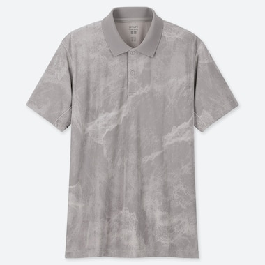 MEN DRY-EX PETER SAVILLE PRINTED SHORT-SLEEVE POLO SHIRT, GRAY, medium