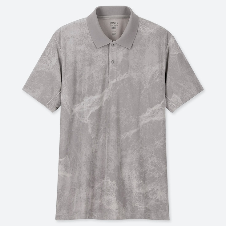 MEN DRY-EX PETER SAVILLE PRINTED SHORT-SLEEVE POLO SHIRT, GRAY, large