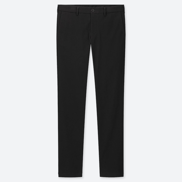 MEN SLIM-FIT CHINO FLAT-FRONT PANTS, BLACK, large