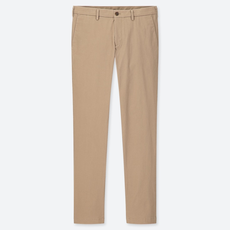 MEN SLIM-FIT CHINO FLAT-FRONT PANTS, BEIGE, large