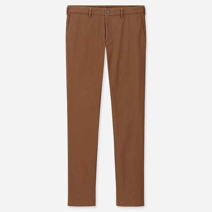MEN SLIM-FIT CHINO FLAT-FRONT PANTS, BROWN, large