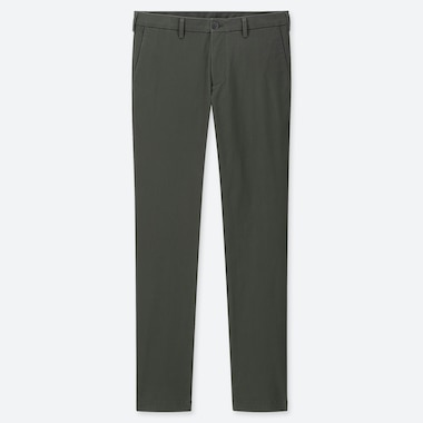 MEN SLIM-FIT CHINO FLAT-FRONT PANTS, DARK GREEN, medium