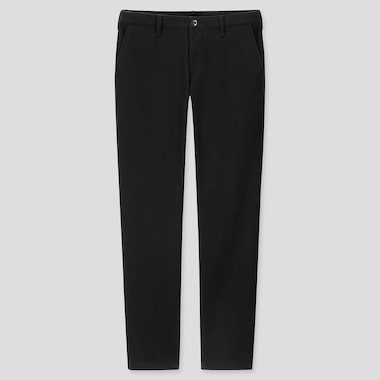 MEN WINDPROOF STRETCH SLIM-FIT CHINO PANTS, BLACK, medium
