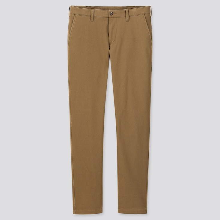 Men Windproof Stretch Slim-Fit Chino Pants, Beige, Large