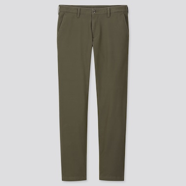 Men Windproof Stretch Slim-Fit Chino Pants, Olive, Medium