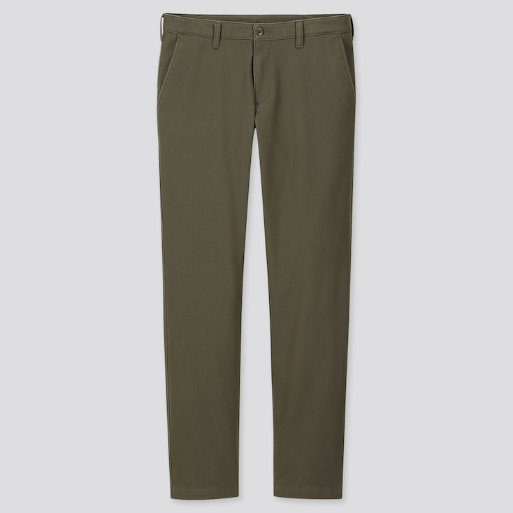 MEN WINDPROOF STRETCH SLIM-FIT CHINO PANTS, OLIVE, large
