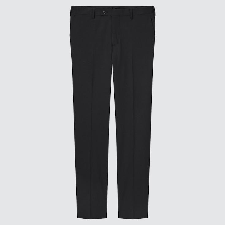 Men Stretch Wool Slim-Fit Pants, Black, Large