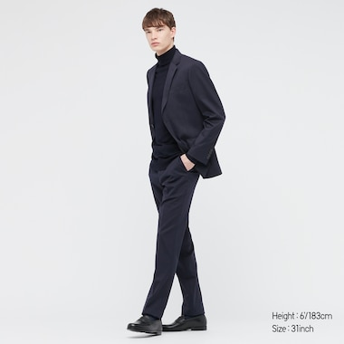 Men Stretch Wool Slim-Fit Pants, Navy, Medium