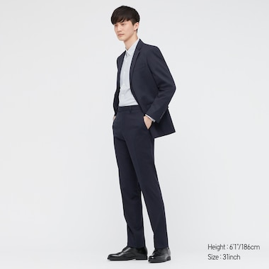 MEN STRETCH WOOL PANTS (ONLINE EXCLUSIVE), NAVY, medium