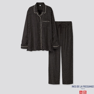 WOMEN RAYON LONG-SLEEVE PAJAMAS (INES DE LA FRESSANGE), BLACK, medium