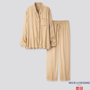 WOMEN RAYON LONG-SLEEVE PAJAMAS (INES DE LA FRESSANGE), BEIGE, medium