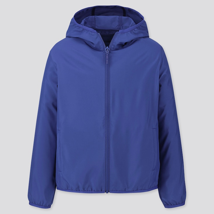 KIDS POCKETABLE PARKA, BLUE, large