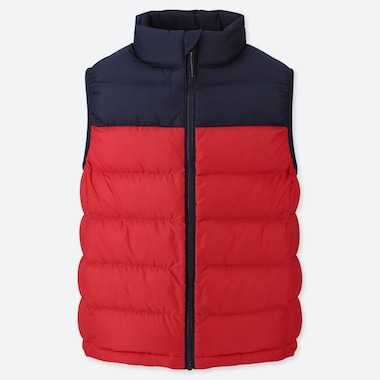 KIDS LIGHT WARM PADDED VEST (COLOR BLOCK), RED, medium