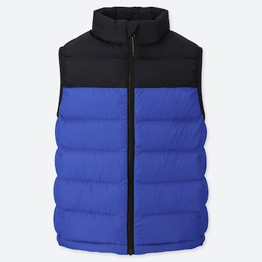 Kids Light Warm Padded Vest (Color Block), Blue, Medium