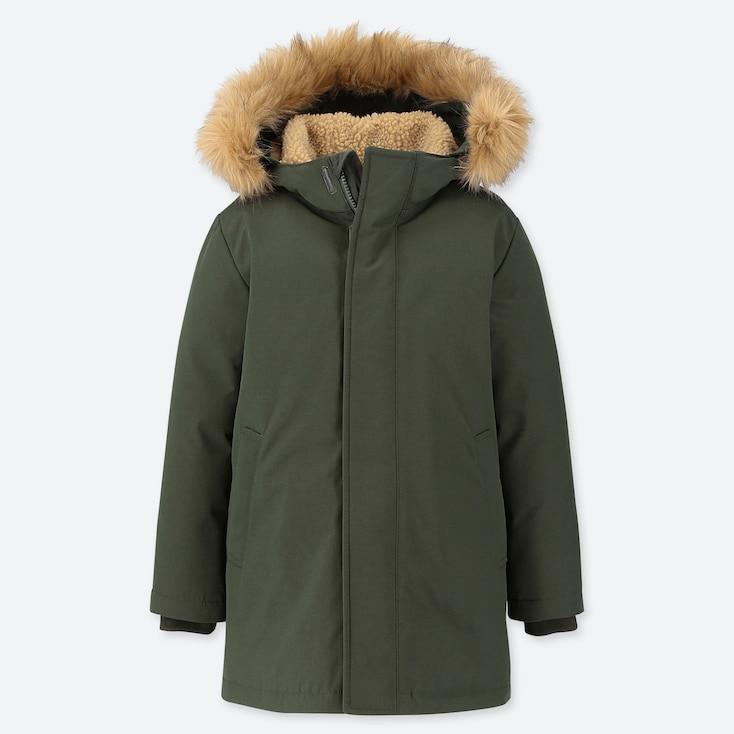 KIDS WARM PADDED COAT, OLIVE, large