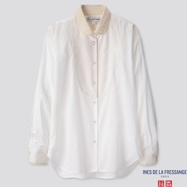 WOMEN COTTON LAWN LONG-SLEEVE SHIRT (INES DE LA FRESSANGE), WHITE, medium