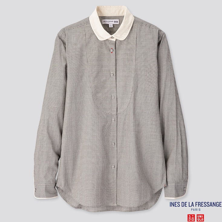 WOMEN COTTON LAWN LONG-SLEEVE SHIRT (INES DE LA FRESSANGE), DARK GRAY, large