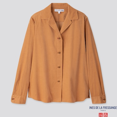 WOMEN CORDUROY OPEN COLLAR LONG-SLEEVE SHIRT (INES DE LA FRESSANGE), BEIGE, medium