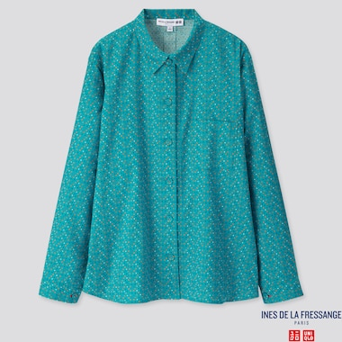WOMEN FLANNEL LONG-SLEEVE SHIRT (INES DE LA FRESSANGE), BLUE, medium