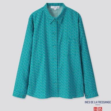 Women Flannel Long-Sleeve Shirt (Ines De La Fressange), Blue, Medium