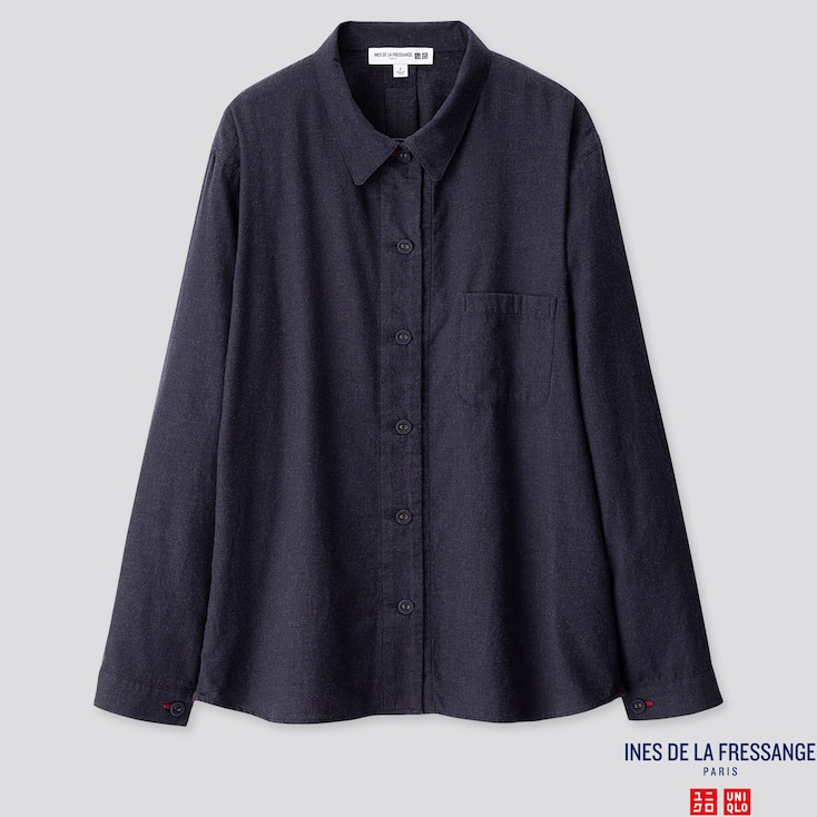 WOMEN FLANNEL LONG-SLEEVE SHIRT (INES DE LA FRESSANGE), NAVY, large